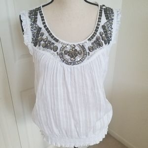 Suzy ShierWomen's Large Embellished White Top